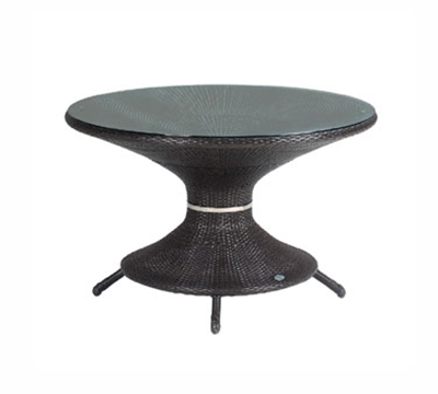 6538 Nilo Table 48 in Glass Top Synthetic Wicker Dark Brown Restaurant Supply