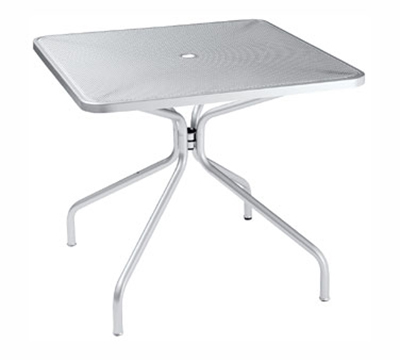 Emuamericas 801 ALU Cambi Table, 32 in Square, Umbrella Hole, Mesh Top, Aluminum