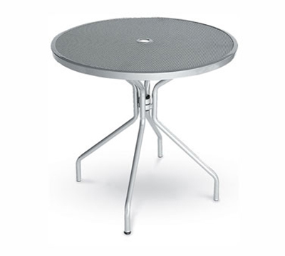 EmuAmericas 803 ALU Cambi Table, 32 in Diameter, Umbrella Hole, Mesh Top, Aluminum