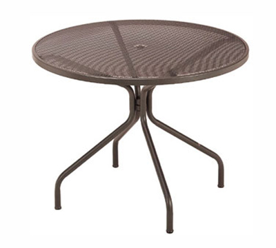 804 Cambi Table 42 in Diameter Umbrella Hole Mesh Top Aluminum Restaurant Supply