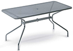 emu 809 BLACK Drink Table, 64 W x 32 in D, Umbrella Hole, Mesh, Black