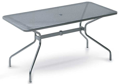 emu 809 ALU Drink Table, 64 W x 32 in D, Umbrella Hole, Mesh, Aluminum
