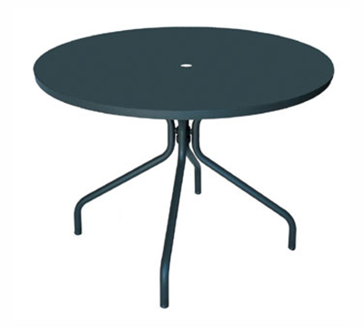 Emuamericas 828 ALU Solid Table, 32 in Diameter, Umbrella Hole, Solid Top, Aluminum