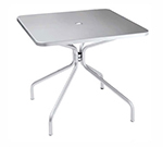Emuamericas 824 ALU Solid Table, 36 in Square, Umbrella Hole, Solid Top, Aluminum