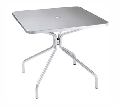 emu 824 ALU Solid Table, 36 in Square, Umbrella Hole, Solid Top, Aluminum