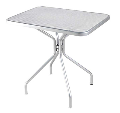 "emu 834 ALU Cambi Table, 32 W x 24""D, Steel Legs, Mesh Top, Aluminum"