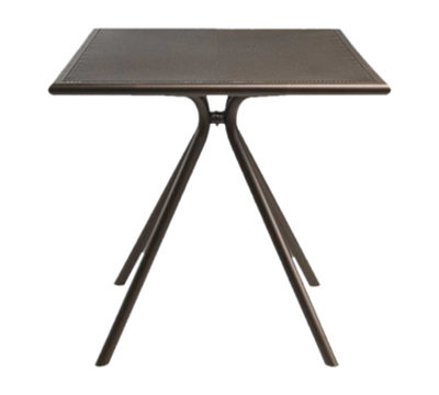 emu 861 ALU Forte Table, 32 in Square, Adjustable, Mesh Top, Aluminum