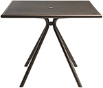 Emuamericas 862 ALU Forte Table, 36 in Square, Umbrella Hole, Mesh, Aluminum