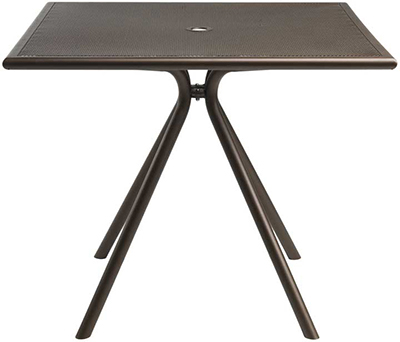 "emu 862 ALU Forte Table, 36"" Square, Umbrella Hole, Mesh, Aluminum"