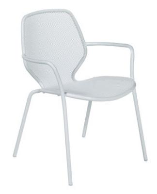 127 Onda Stacking Armchair Mesh Seat & Back Steel Aluminum Restaurant Supply