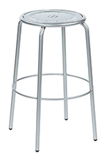 emu 387 ALU Coupole Backless Barstool, Steel Seat & Frame, Aluminum