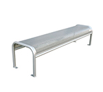 "emu U340B 81"" Outdoor Backless Bench w/ Perforated Mesh Seat & Back, Tubular Frame, Silver"