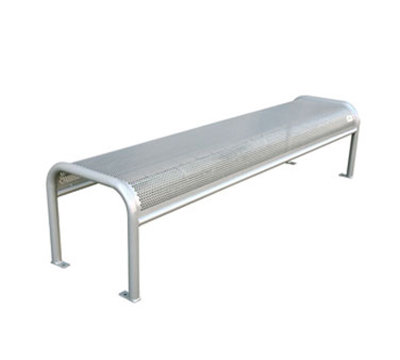 Emuamericas U340B 81-in Outdoor Backless Bench w/ Perforated Mesh Seat & Back, Tubular Frame, Silver