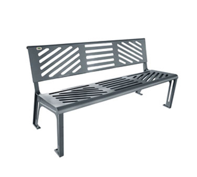 EmuAmericas U397M 65.5-in Outdoor Essen Bench w/ Solid Seat & Back, Cast Iron Frame, Steel Grey
