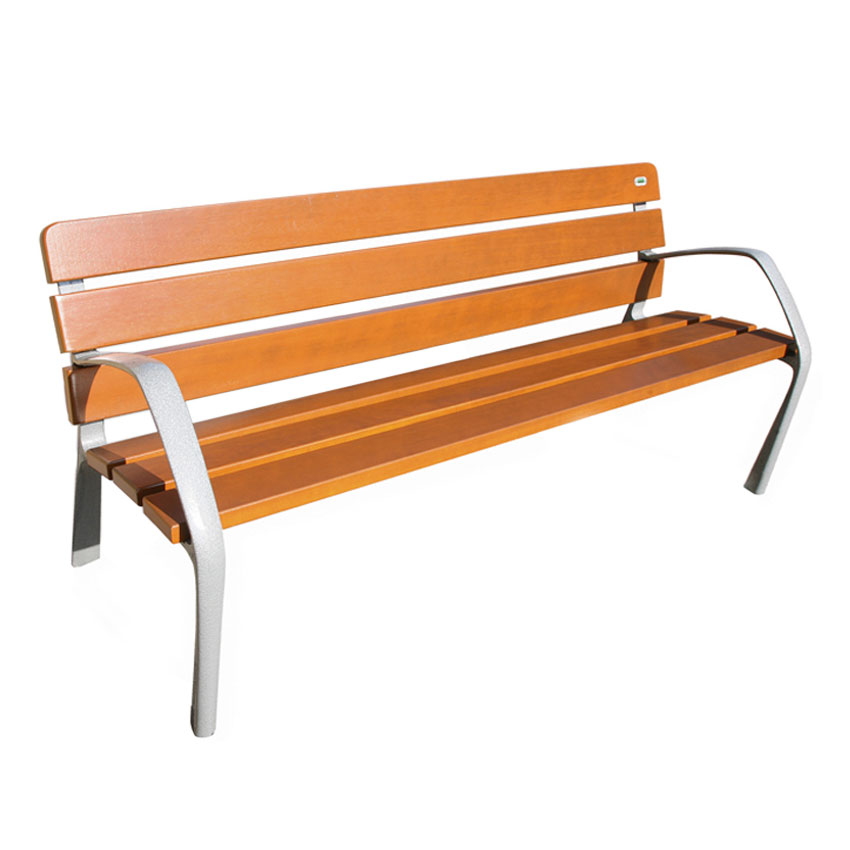 "emu U304 72"" Neobarcino Bench - Outdoor, Natural Wood/Steel, Gray"