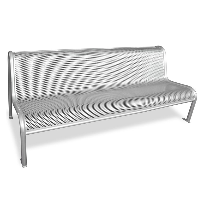 "emu U340M 81"" Outdoor Valles Bench w/ Perforated Mesh Seat & Back, Tubular Steel Frame, Silver"