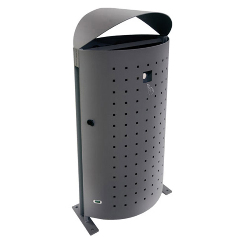 emu U694L 51-gal Dara Litter Bin - Outdoor, Steel, Gray
