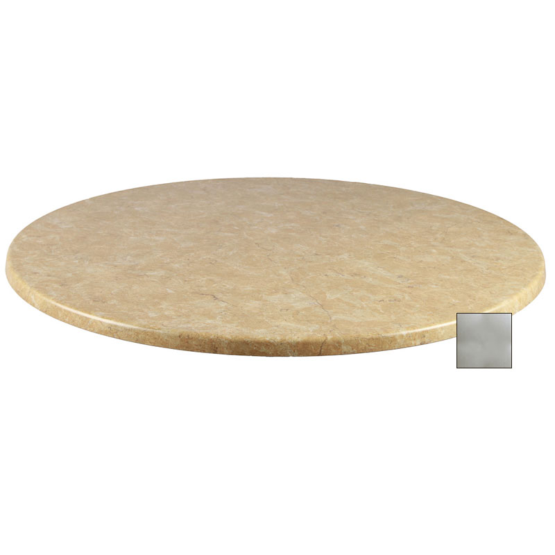 "emu W0036 36"" Joe Round Table Top - Indoor/Outdoor, Molded Laminate, Brushed Silver"
