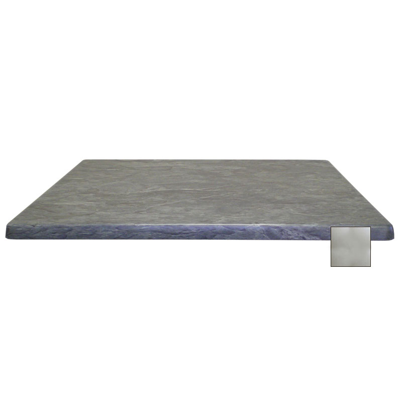 "emu W2424 24"" Joe Square Table Top - Indoor/Outdoor, Molded Laminate, Brushed Silver"