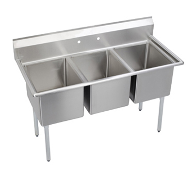"Elkay 3C24X24-0X 81"" 3-Compartment Sink w/ 24""L x 24""W Bowl, 12"" Deep"