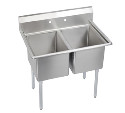 "Elkay E2C16X20-0X 39"" 2-Compartment Sink w/ 16""L x 20""W Bowl, 12"" Deep"