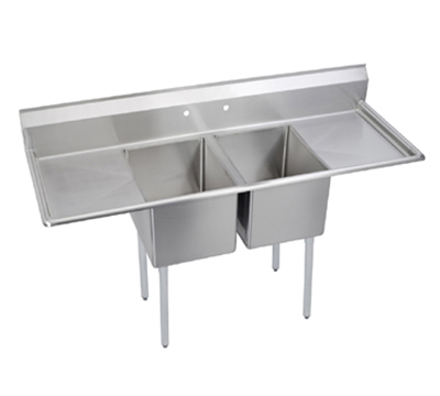 Elkay E2C24X24-2-24X Sink w/ (2) 24x24x12-in Bowl & 9-in Splash, 24-in L-R Drainboard