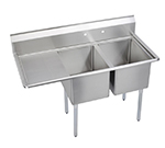 Elkay E2C16X20-L-18X Sink w/ (2) 16x20x12-in Bowl & 9-in Splash, 18-in Left Drainboard