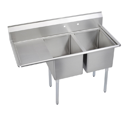 Elkay E2C24X24-L-24X Sink w/ (2) 24x24x12-in Bowl & 9-in Splash, 24-in Left Drainboard