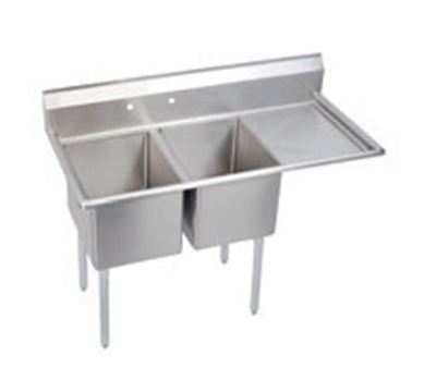 Elkay E2C20X20-R-20X Sink w/ (2) 20x20x12-in Bowl & 9-in Splash, 20-in Right Drainboard