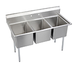 "Elkay E3C16X20-0X 57"" 3-Compartment Sink w/ 16""L x 20""W Bowl, 12"" Deep"