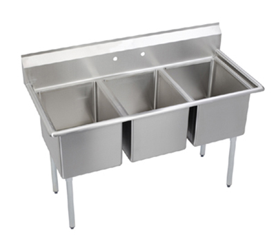 Elkay E3C16X20-0X Sink w/ (3) 16x20x12-in Bowl & 9-in Splash