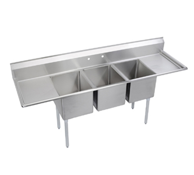 Elkay E3C24X24-2-24X Sink w/ (3) 24x24x12-in Bowl & 9-in Splash, 24-in L-R Drainboard