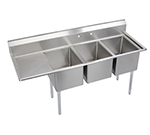 "Elkay E3C24X24-L-24X 106"" 3-Compartment Sink w/ 24""L x 24""W Bowl, 12"" Deep"
