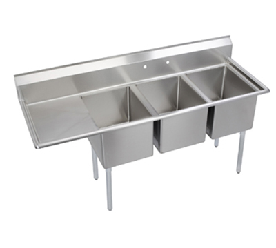 Elkay E3C16X20-L-18X Sink w/ (3) 16x20x12-in Bowl & 9-in Splash, 18-in Left Drainboard