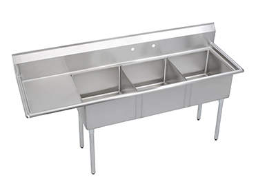 "Elkay S3C18X18-L-18X 74.5"" 3-Compartment Sink w/ 18""L x 18""W Bowl, 14"" Deep"