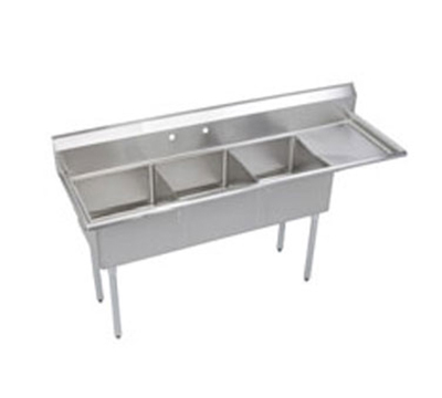 "Elkay S3C18X18-R-18X 74.5"" 3-Compartment Sink w/ 18""L x 18""W Bowl, 14"" Deep"