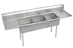 Elkay SE3C24X24224X Sink w/ (3) 24x24x11-in Bowl & 9-in Splash, 24-in L-R Drainboard