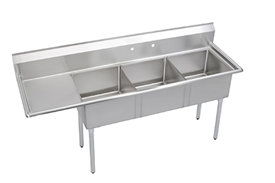 "Elkay SE3C18X18-L-18X 74.5"" 3-Compartment Sink w/ 18""L x 18""W Bowl, 11"" Deep"