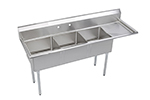 "Elkay SE3C18X18-R-18X 74.5"" 3-Compartment Sink w/ 18""L x 18""W Bowl, 11"" Deep"