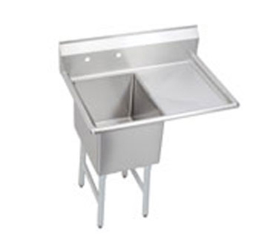 Elkay 1C18X18-R-18X Standard Sink w/ 18x18x12-in Bowl & 10-in Splash, 18-in Right Drainboard