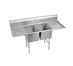 "Elkay 2C24X24-2-24X 98"" 2-Compartment Sink w/ 24""L x 24""W Bowl, 12"" Deep"