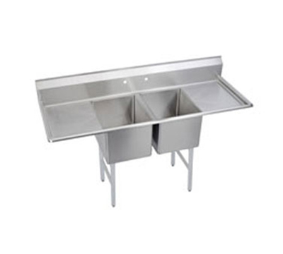 Elkay 2C18X24-2-24X Standard Sink w/ (2) 18x24x12-in Bowl & 10-in Splash, 24-in L-R Drainboard