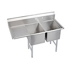 Elkay 2C18X18-L-18X Standard Sink w/ (2) 18x18x12-in Bowl & 10-in Splash, 18-in Left Drainboard
