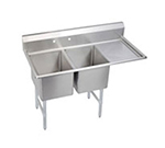 Elkay 2C18X18-R-18X Standard Sink w/ (2) 18x18x12-in Bowl & 10-in Splash, 18-in Right Drainboard