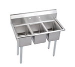 "Elkay 3C10X14-0X 39"" 3-Compartment Sink w/ 10""L x 14""W Bowl, 10"" Deep"
