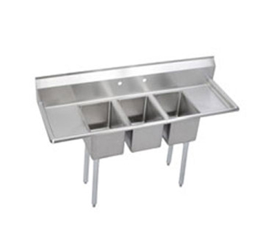 "Elkay 3C12X16-2-16X 72"" 3-Compartment Sink w/ 12""L x 16""W Bowl, 10"" Deep"