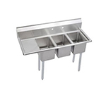 Elkay 3C10X14-L-12X Deli Sink w/ (3) 10x14x10-in Bowl & 9.75-in Splash, 12-in Left Drainboard