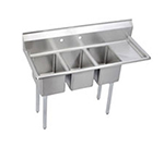 "Elkay 3C10X14-R-12X 48.5"" 3-Compartment Sink w/ 10""L x 14""W Bowl, 10"" Deep"