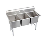 "Elkay 3C18X24-0X 63"" 3-Compartment Sink w/ 18""L x 24""W Bowl, 12"" Deep"