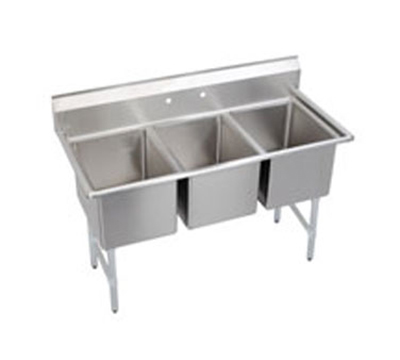 "Elkay 3C18X18-0X 63"" 3-Compartment Sink w/ 18""L x 18""W Bowl, 12"" Deep"